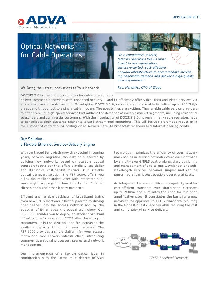 """APPLICATION NOTEOptical Networksfor Cable Operators                                           """"In a competitive market,   ..."""