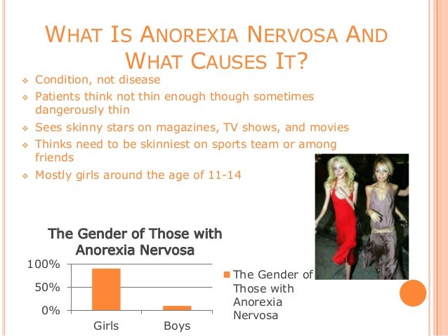 causes of anorexia nervosa Anorexia nervosa is an eating disorder, a type of mental illness it's characterized by a distorted view of your own weight or shape and self-imposed weight loss through calorie restriction by .