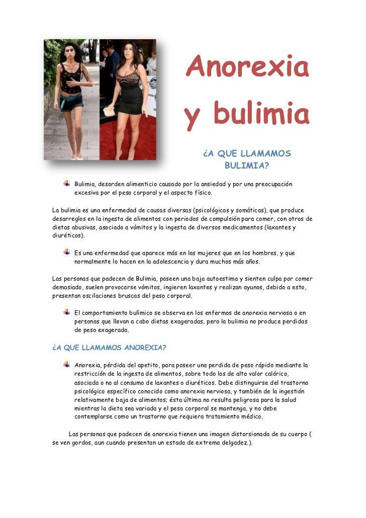 Anorexia                                             y bulimia                                                    ¿A QUE L...
