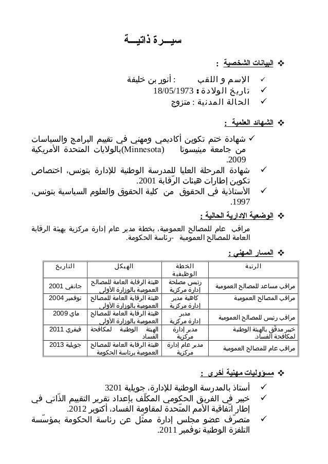 سيـــرة ذاتيـــة  البيانات الشخصية :      : أنور بن خليفة السم و اللقب تاريخ الولدة : 3791/50/8...