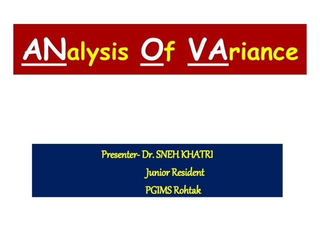 introduction to one way analysis of variance One-way analysis of variance (abbreviated one-way anova) is a technique used to compare means of two or more samples (using the f distribution) this technique can be.