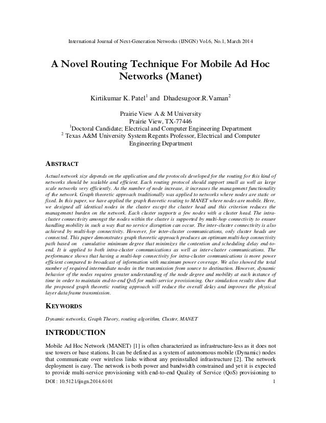 A novel routing technique for mobile ad hoc networks (manet)