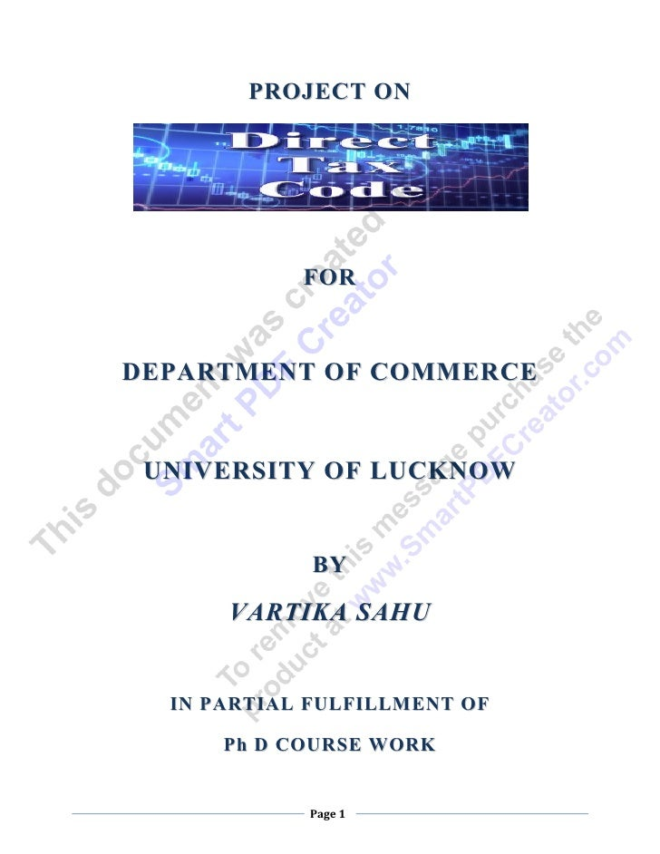 PROJECT ON                FOR    DEPARTMENT OF COMMERCE     UNIVERSITY OF LUCKNOW                 BY          VARTIKA SAHU...