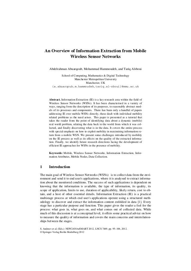 An Overview of Information Extraction from Mobile Wireless Sensor Networks