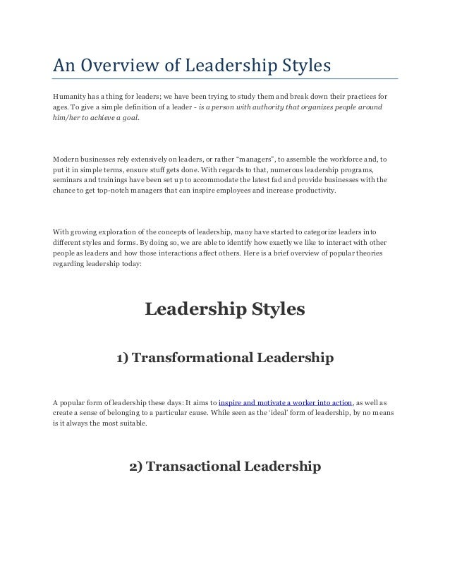 An overview of leadership styles