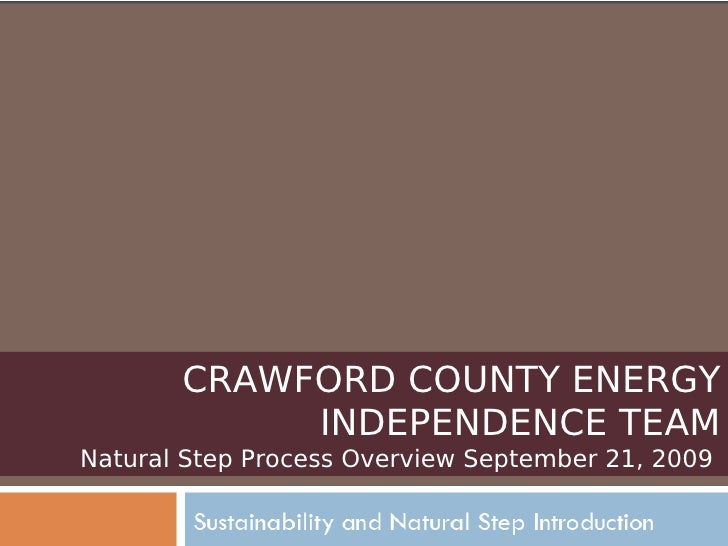 CRAWFORD COUNTY ENERGY INDEPENDENCE TEAM Natural Step Process Overview September 21, 2009