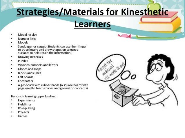 kinesthetic reading research paper Kinesthetic modality - the kinesthetic learner learns by doing, direct involvement  often fidgets or finds reasons to move  is not very attentive to visual or auditory presentations.
