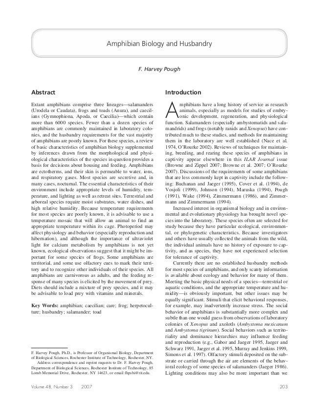 Amphibian Biology and Husbandry                                                                F. Harvey PoughAbstract    ...