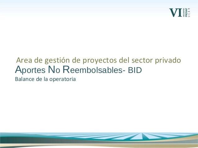 Aportes No Reembolsables- BID Balance de la operatoria Area de gestión de proyectos del sector privado