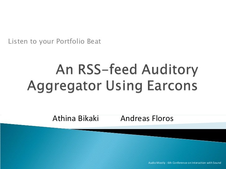 An RSS feed auditory aggregator using earcons