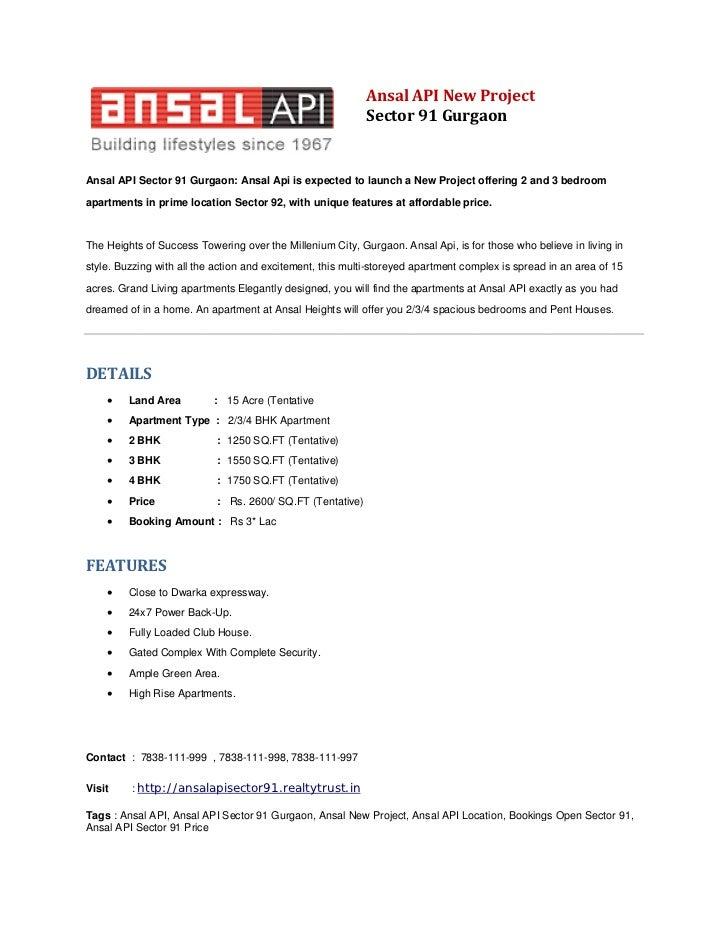 Ansal API New Project | Sector 91 Gurgaon | 7838-111-999
