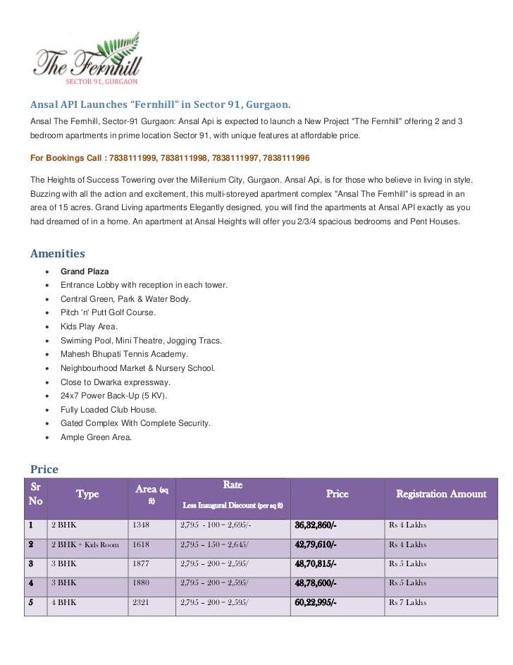Ansal Fernhill Sector 91, Gurgaon // 7838111999