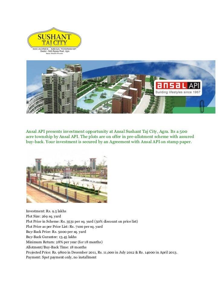 Ansal api presents investment opportunity at ansal sushant taj city