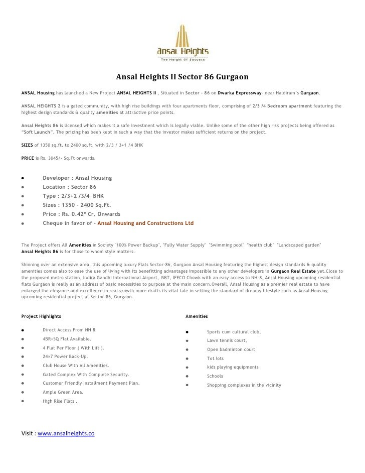 Ansal Heights II Sector 86 Gurgaon<br />ANSAL Housinghas launched a New ProjectANSAL HEIGHTS II, Situated inSector – 8...