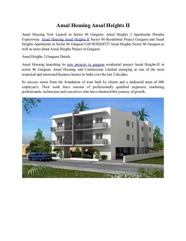 Ansal Housing Ansal Heights II Ansal Housing New Launch in Sector 86 Gurgaon- Ansal Heights 2 Apartments Dwarka Expressway...
