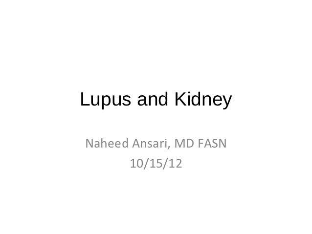 Lupus and KidneyNaheed Ansari, MD FASN      10/15/12