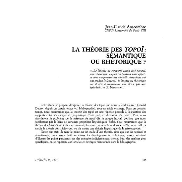 Anscombre. La TeoríA De Los Topoi. SemáNtica O RetóRica