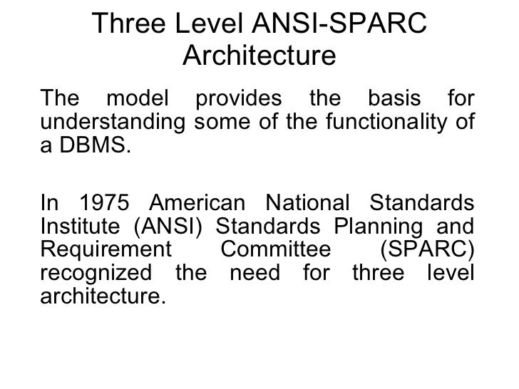 Three Level ANSI-SPARC Architecture The model provides the basis for understanding some of the functionality of a DBMS. In...