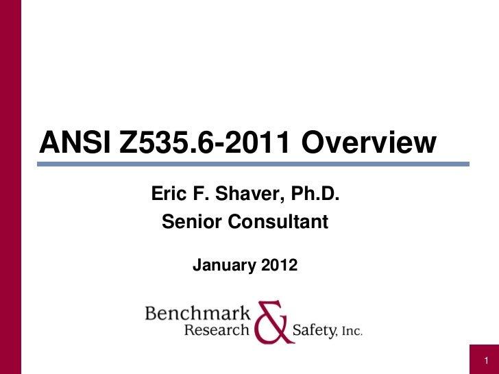 ANSI Z535.6-2011 Overview