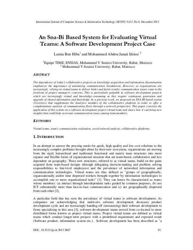 An Sna-Bi Based System for Evaluating Virtual Teams: A Software Development Project Case