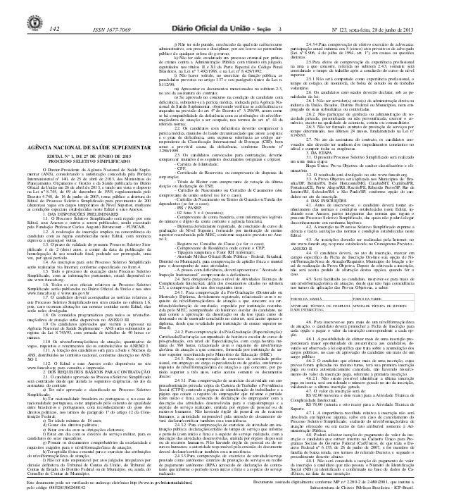 Nº 123, sexta-feira, 28 de junho de 2013142 ISSN 1677-7069 Este documento pode ser verificado no endereço eletrônico http:...