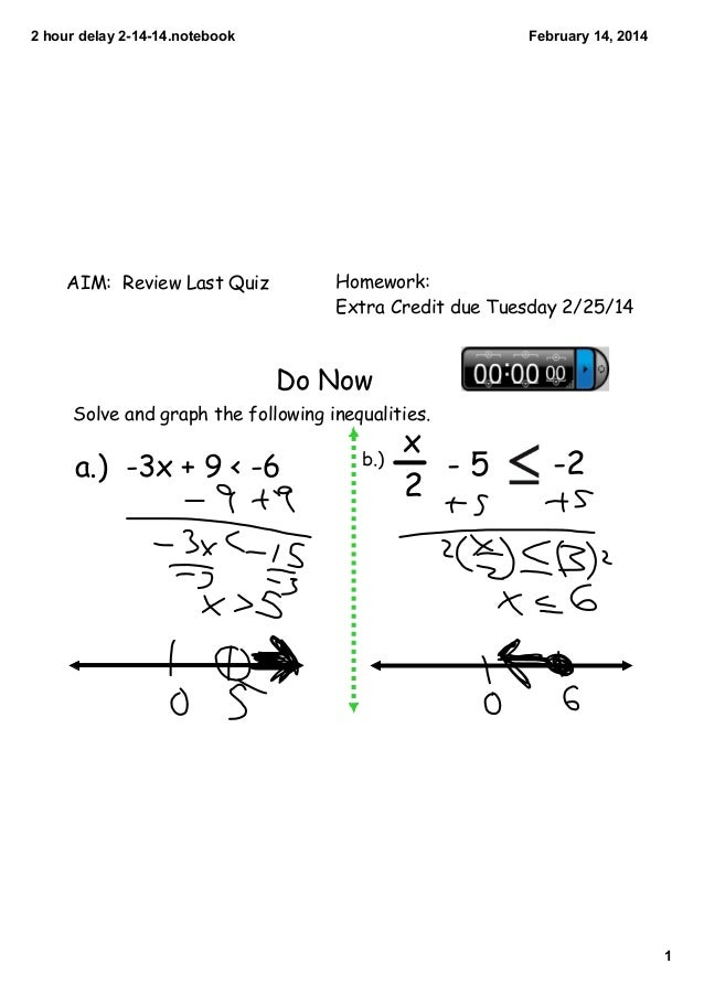 2 hour delay 2­14­14.notebook  February 14, 2014  Homework: Extra Credit due Tuesday 2/25/14  AIM: Review Last Quiz  Do No...