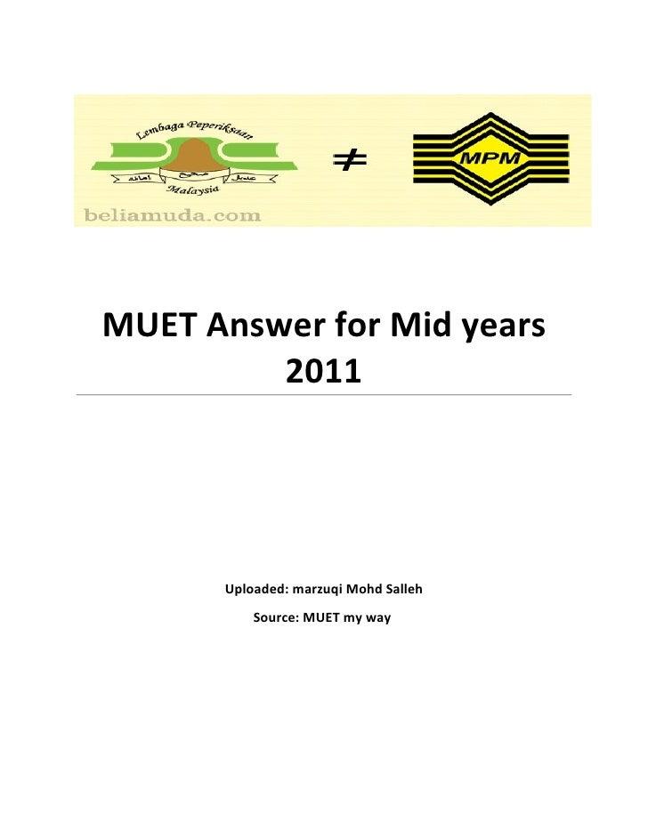 MUET Mid years 2011