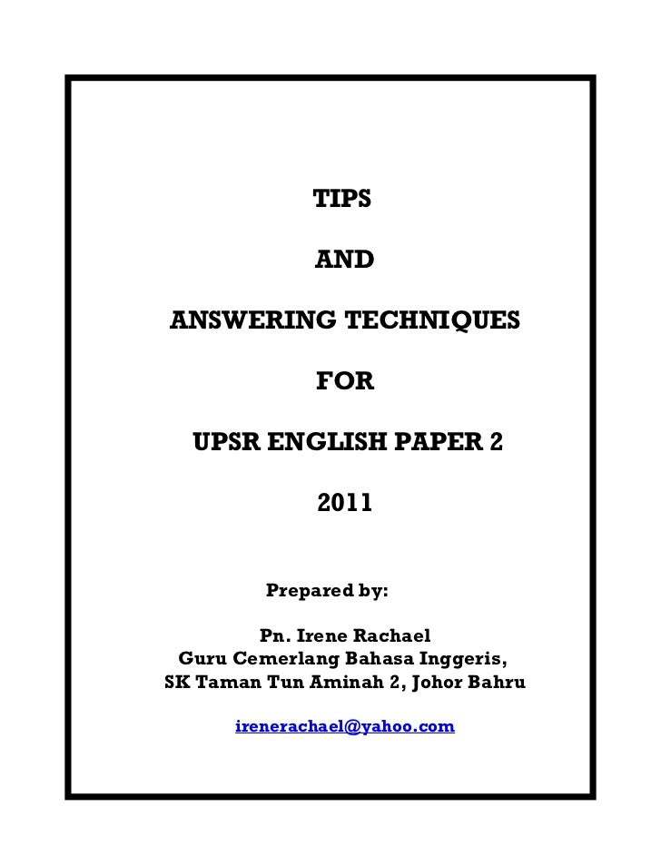 Answering techniques -upsr_english_2011