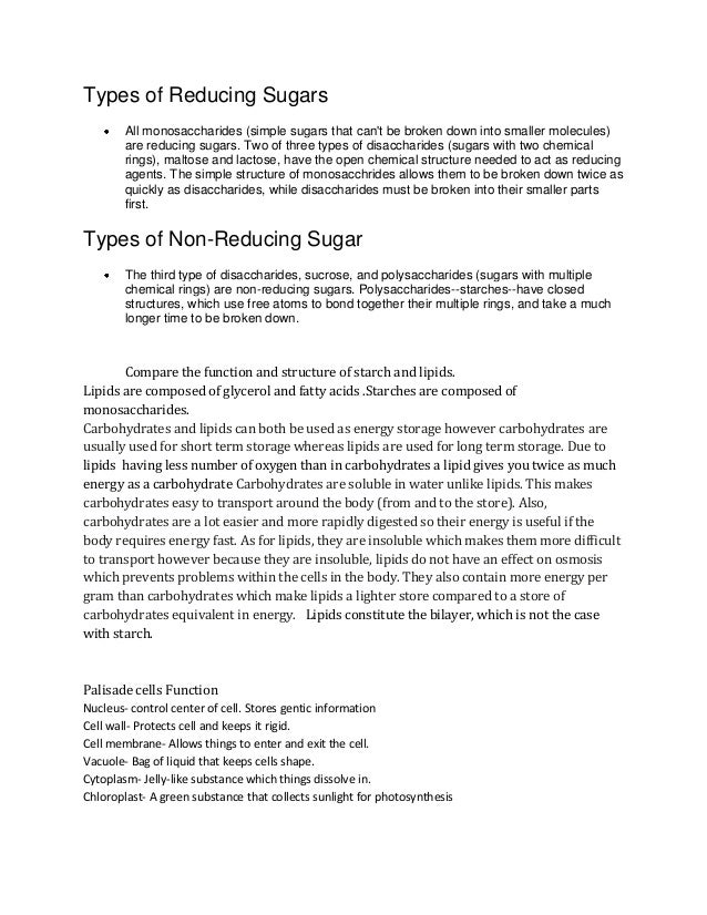 Types of Reducing Sugars        All monosaccharides (simple sugars that cant be broken down into smaller molecules)       ...