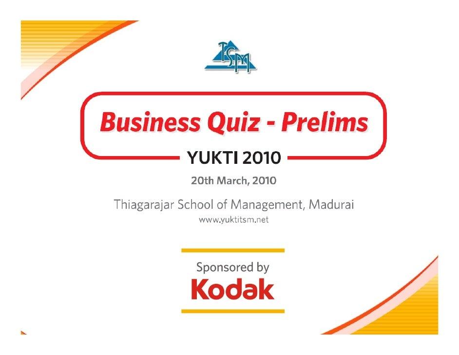 Business Quiz - Prelims