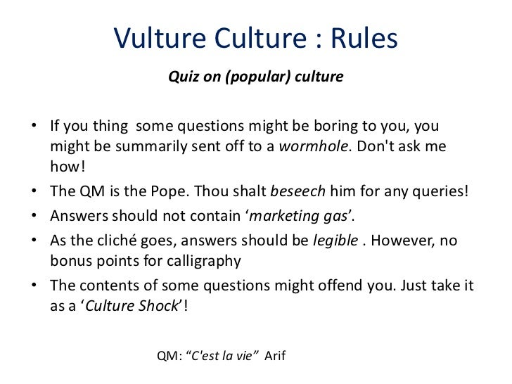 Answers vulture culture