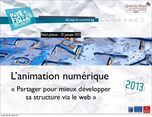 Point presse - 22 janvier 2013           L'animation numérique           « Partager pour mieux développer            2013 ...