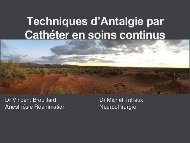 Dr Vincent Brouillard Anesthésie Réanimation Dr Michel Triffaux Neurochirurgie Techniques d'Antalgie par Cathéter en soins...