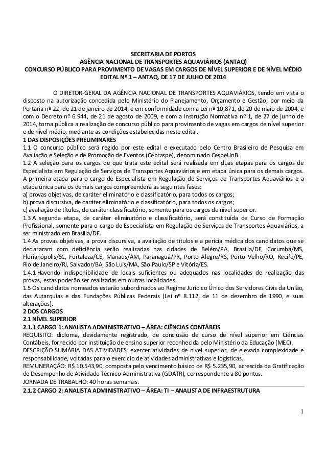 1 SECRETARIA DE PORTOS AGÊNCIA NACIONAL DE TRANSPORTES AQUAVIÁRIOS (ANTAQ) CONCURSO PÚBLICO PARA PROVIMENTO DE VAGAS EM CA...