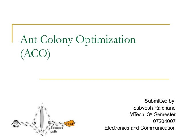 Ant Colony Optimization (ACO) Submitted by: Subvesh Raichand MTech, 3rd Semester 07204007 Electronics and Communication