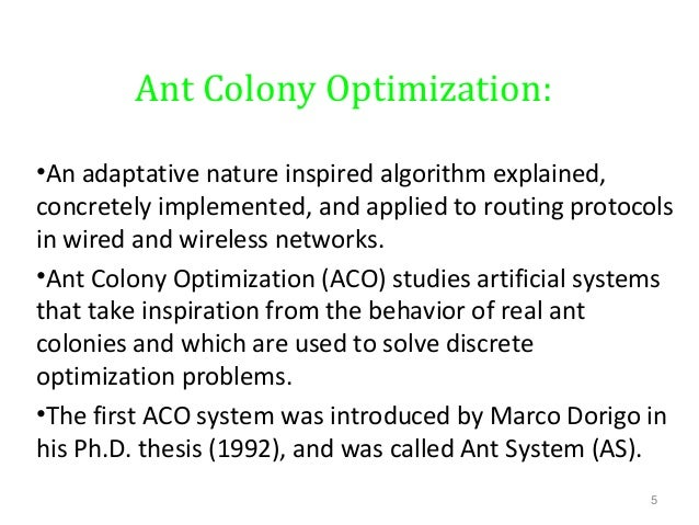 Ant colony optimization phd thesis