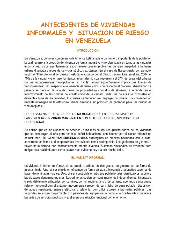 Antecedentes de viviendas informales y  situacion de riesgo en venezuela