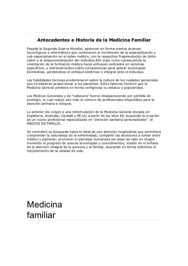 Antecedentes e historia de la medicina familiar