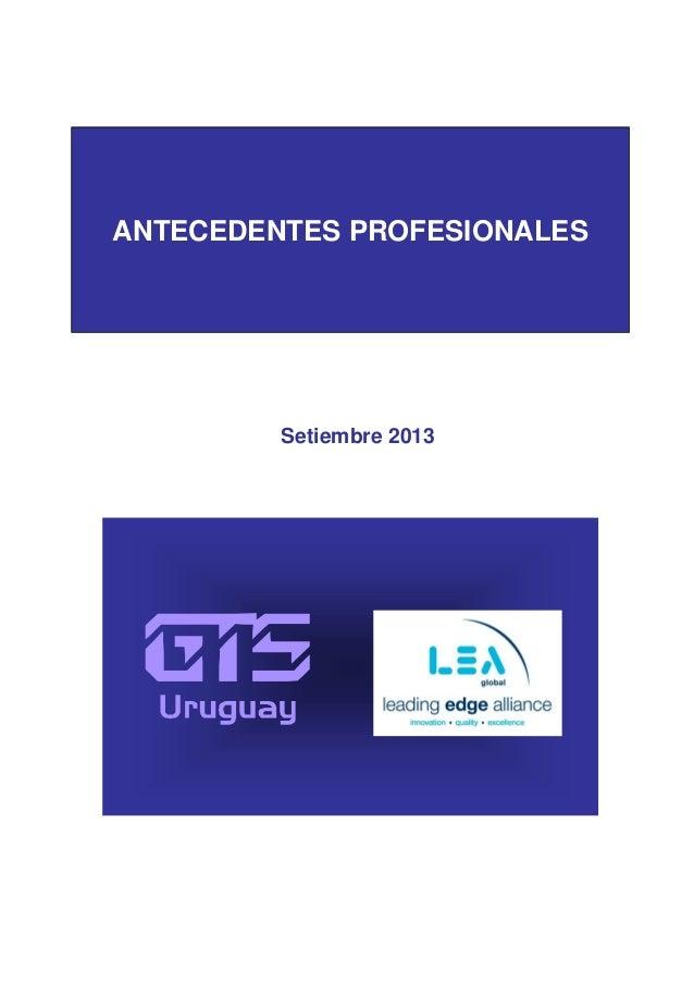 Antecedentes Profesionales -  GTS Uruguay 2013 - Professional Background