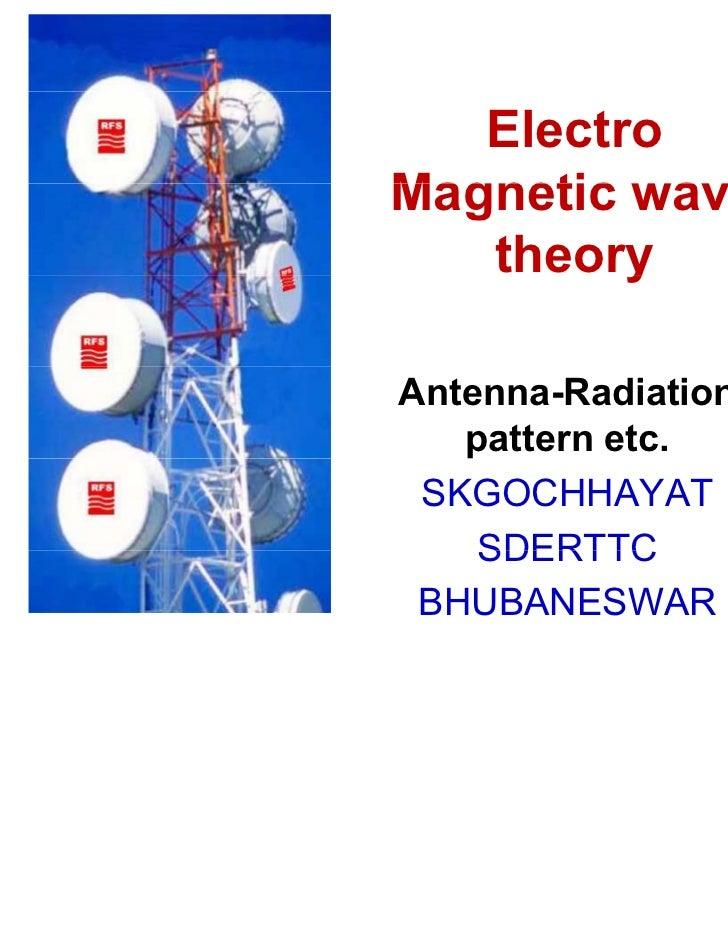 ElectroMagnetic wave   theoryyAntenna-Radiation   pattern etc. SKGOCHHAYAT    SDERTTC BHUBANESWAR