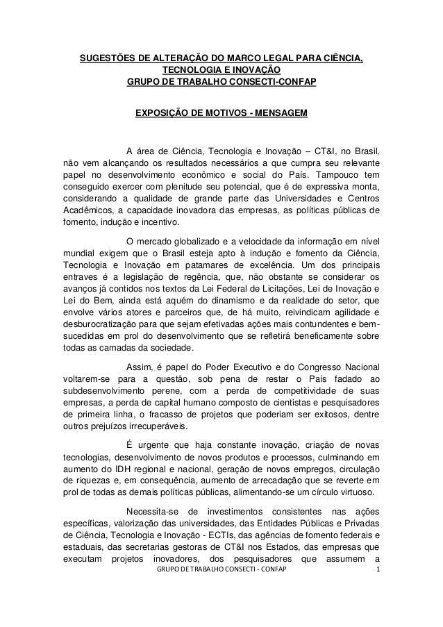 SUGESTÕES DE ALTERAÇÃO DO MARCO LEGAL PARA CIÊNCIA,                   TECNOLOGIA E INOVAÇÃO            GRUPO DE TRABALHO C...