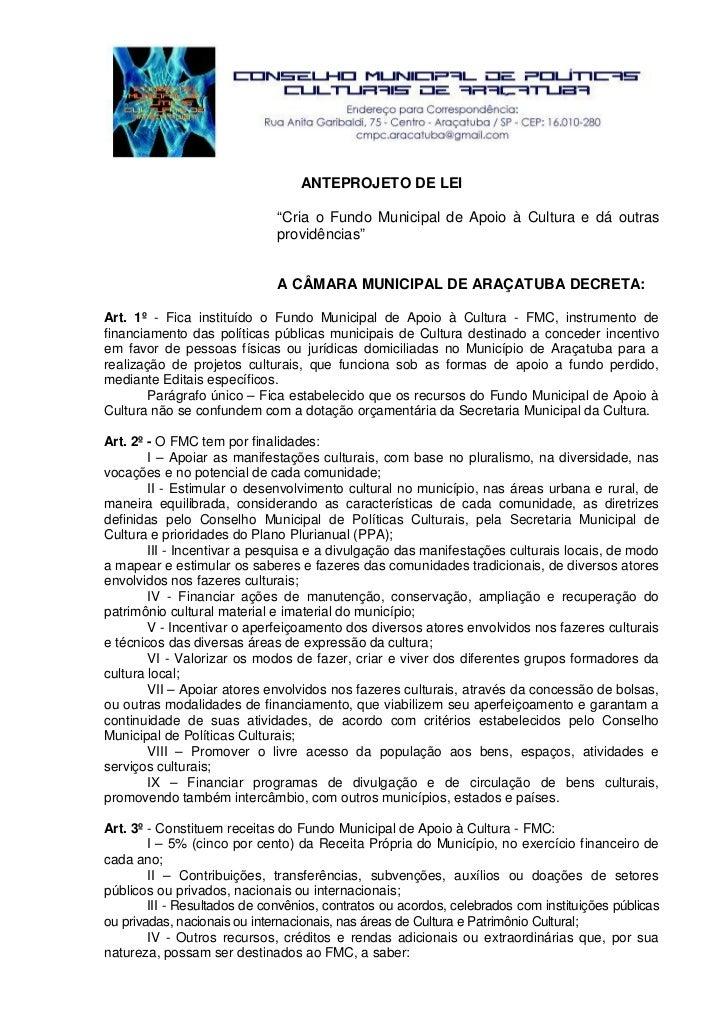 Anteprojeto de lei do fundo municipal de apoio a cultura  versão aprovada em 09 02-2010-