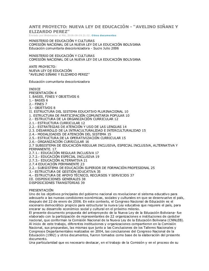 """ANTE PROYECTO: NUEVA LEY DE EDUCACIÓN - """"AVELINO SIÑANI YELIZARDO PEREZ""""Enviado por Webmaster el Mié, 2006-08-09 21:02. Ot..."""