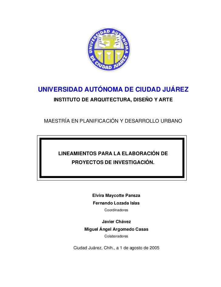UNIVERSIDAD AUTÓNOMA DE CIUDAD JUÁREZ    INSTITUTO DE ARQUITECTURA, DISEÑO Y ARTE MAESTRÍA EN PLANIFICACIÓN Y DESARROLLO U...