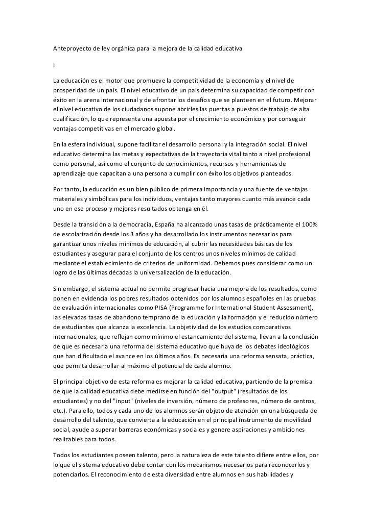 Anteproyecto de ley orgánica para la mejora de la calidad educativa I La educación es el m...