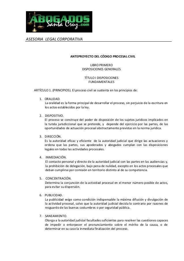 Anteproyecto Codigo de Procedimiento Civil Boliviano