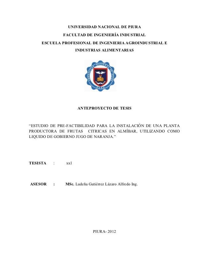 UNIVERSIDAD NACIONAL DE PIURA              FACULTAD DE INGENIERÍA INDUSTRIAL     ESCUELA PROFESIONAL DE INGENIERIA AGROIND...