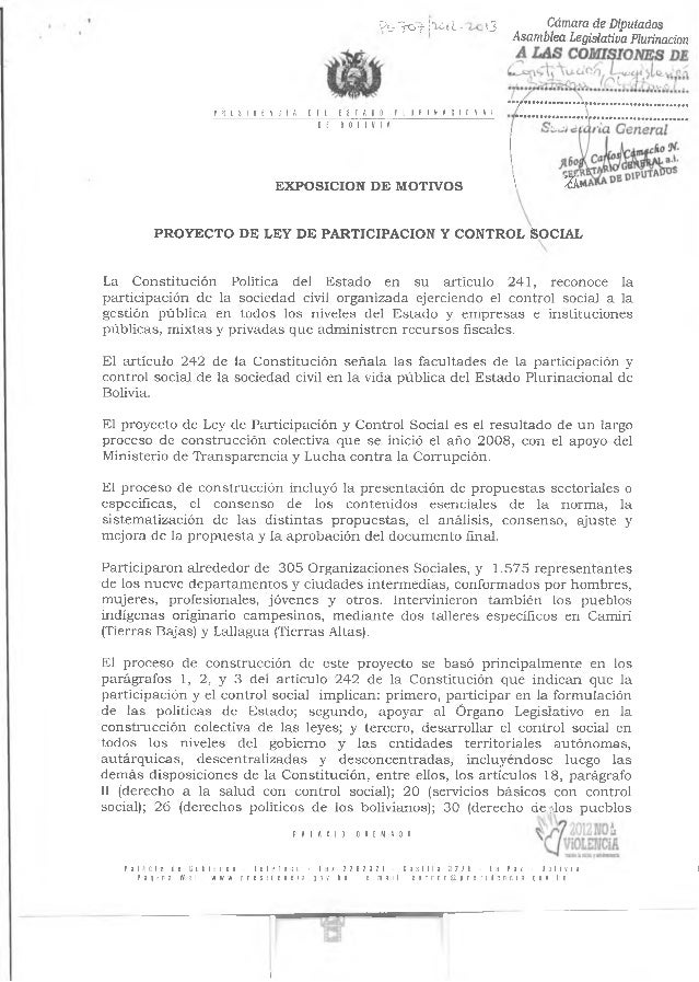 Anteproyecto ley participacion y control social bolivia
