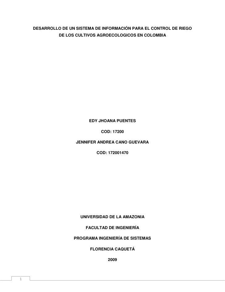 DESARROLLO DE UN SISTEMA DE INFORMACIÓN PARA EL CONTROL DE RIEGO DE LOS CULTIVOS AGROECOLOGICOS EN COLOMBIA