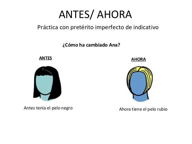 ANTES/ AHORA Práctica con pretérito imperfecto de indicativo ¿Cómo ha cambiado Ana? ANTES AHORA Antes tenía el pelo negro ...